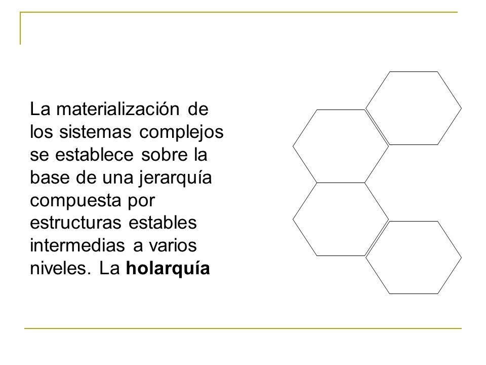 La materialización de los sistemas complejos se establece sobre la base de una jerarquía compuesta por estructuras estables intermedias a varios nivel