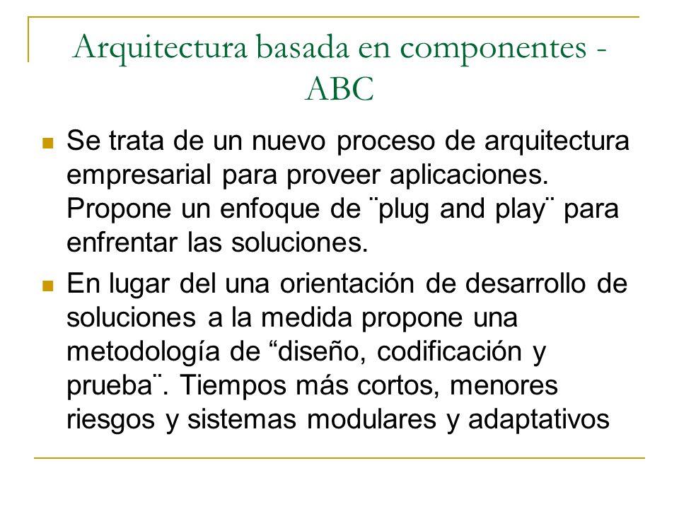 Arquitectura basada en componentes - ABC Se trata de un nuevo proceso de arquitectura empresarial para proveer aplicaciones. Propone un enfoque de ¨pl