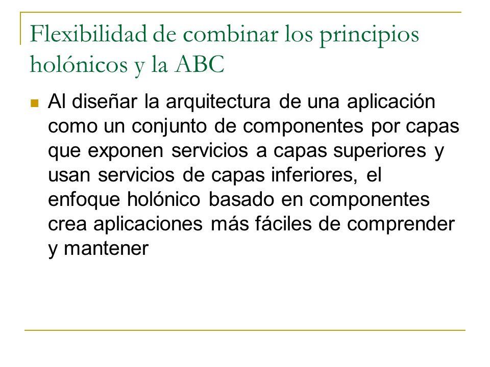 Flexibilidad de combinar los principios holónicos y la ABC Al diseñar la arquitectura de una aplicación como un conjunto de componentes por capas que