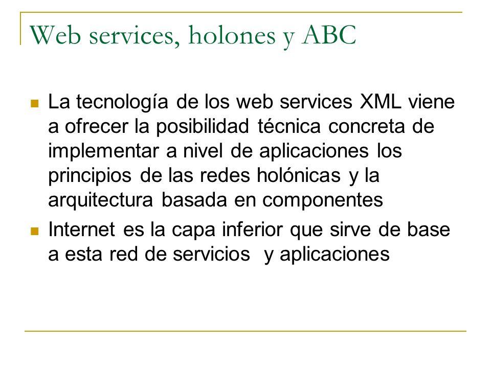 Web services, holones y ABC La tecnología de los web services XML viene a ofrecer la posibilidad técnica concreta de implementar a nivel de aplicacion