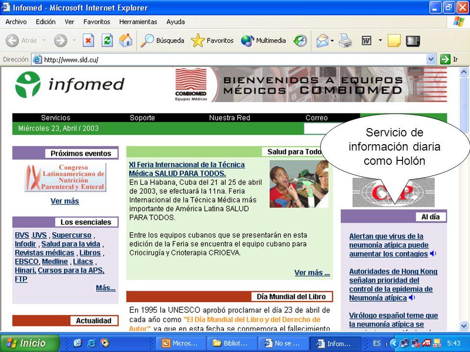 Servicio de información diaria como Holón
