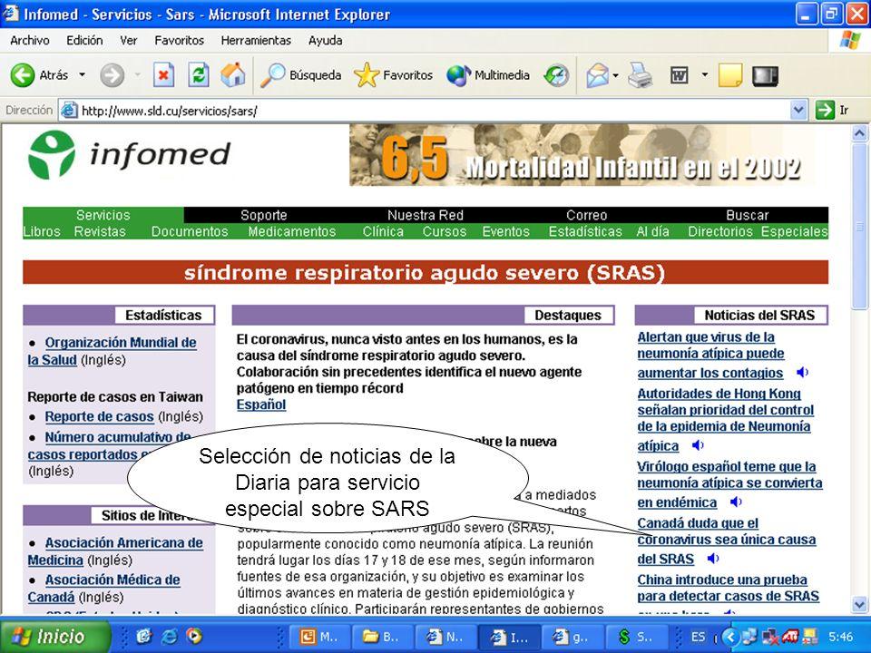 Selección de noticias de la Diaria para servicio especial sobre SARS