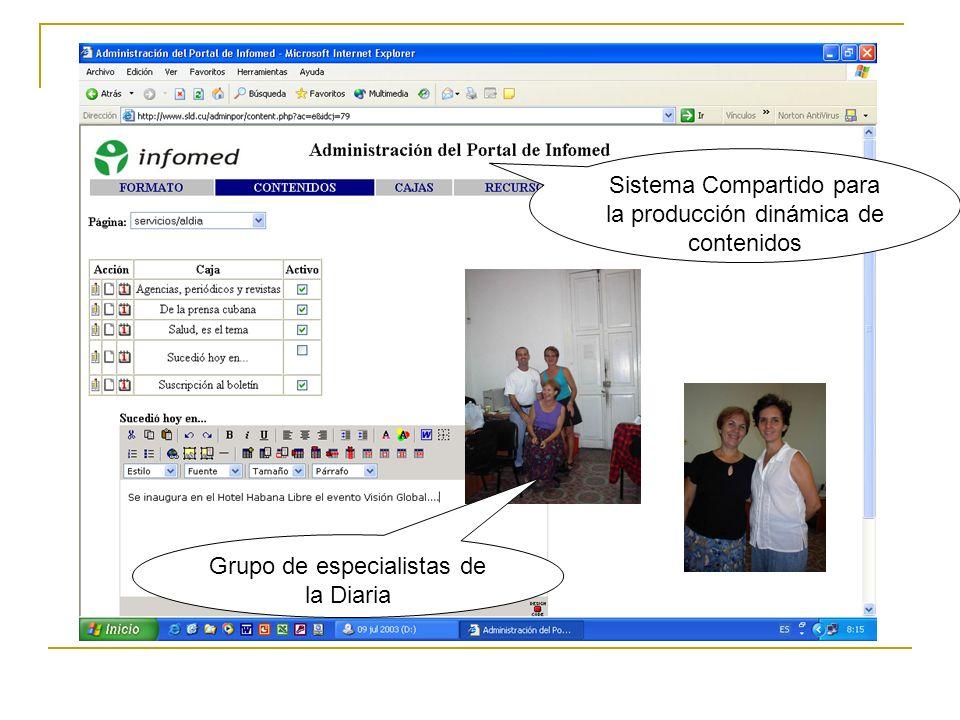 Grupo de especialistas de la Diaria Sistema Compartido para la producción dinámica de contenidos