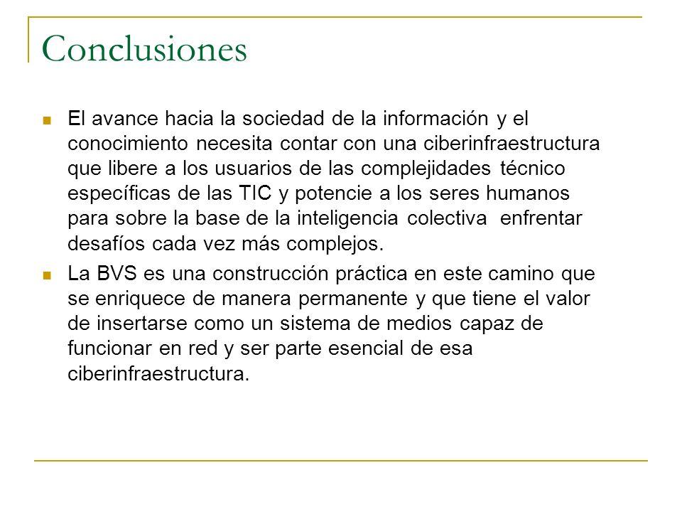 Conclusiones El avance hacia la sociedad de la información y el conocimiento necesita contar con una ciberinfraestructura que libere a los usuarios de