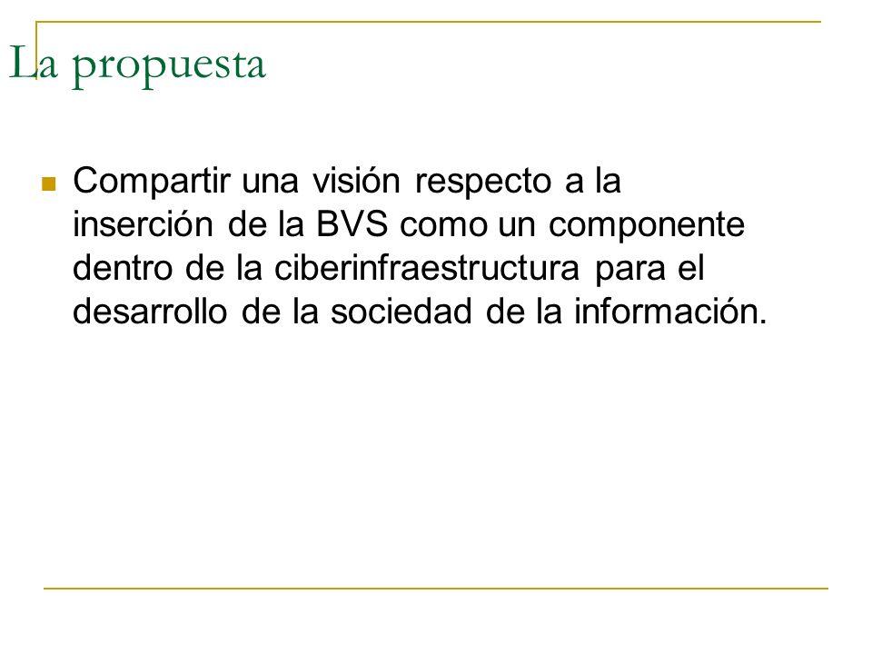 La propuesta Compartir una visión respecto a la inserción de la BVS como un componente dentro de la ciberinfraestructura para el desarrollo de la soci