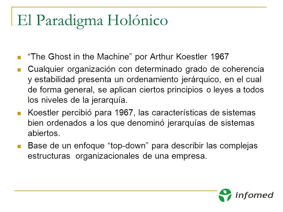 El Paradigma Holónico The Ghost in the Machine por Arthur Koestler 1967 Cualquier organización con determinado grado de coherencia y estabilidad prese