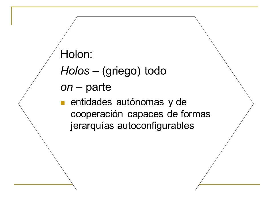 Holon: Holos – (griego) todo on – parte entidades autónomas y de cooperación capaces de formas jerarquías autoconfigurables