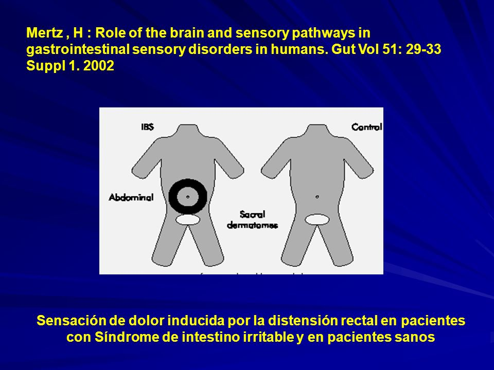 Sensación de dolor inducida por la distensión rectal en pacientes con Síndrome de intestino irritable y en pacientes sanos Mertz, H : Role of the brai