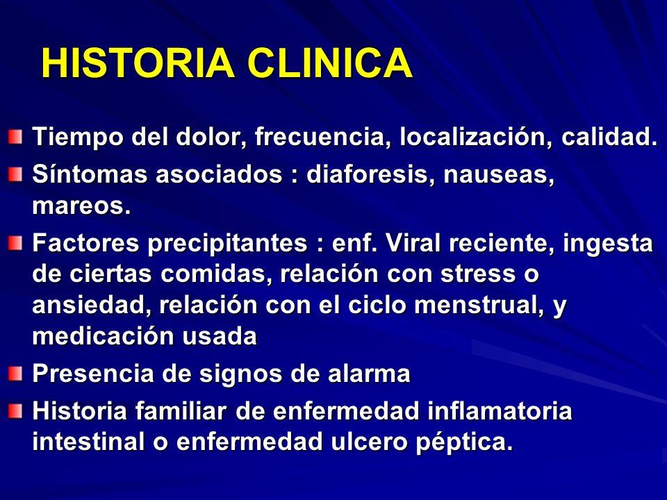 HISTORIA CLINICA Tiempo del dolor, frecuencia, localización, calidad. Síntomas asociados : diaforesis, nauseas, mareos. Factores precipitantes : enf.