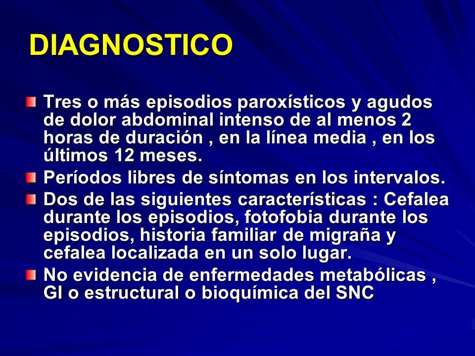 DIAGNOSTICO Tres o más episodios paroxísticos y agudos de dolor abdominal intenso de al menos 2 horas de duración, en la línea media, en los últimos 1