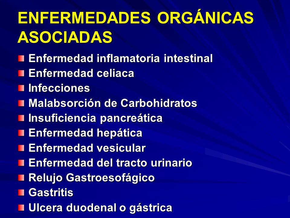 ENFERMEDADES ORGÁNICAS ASOCIADAS Enfermedad inflamatoria intestinal Enfermedad celiaca Infecciones Malabsorción de Carbohidratos Insuficiencia pancreá