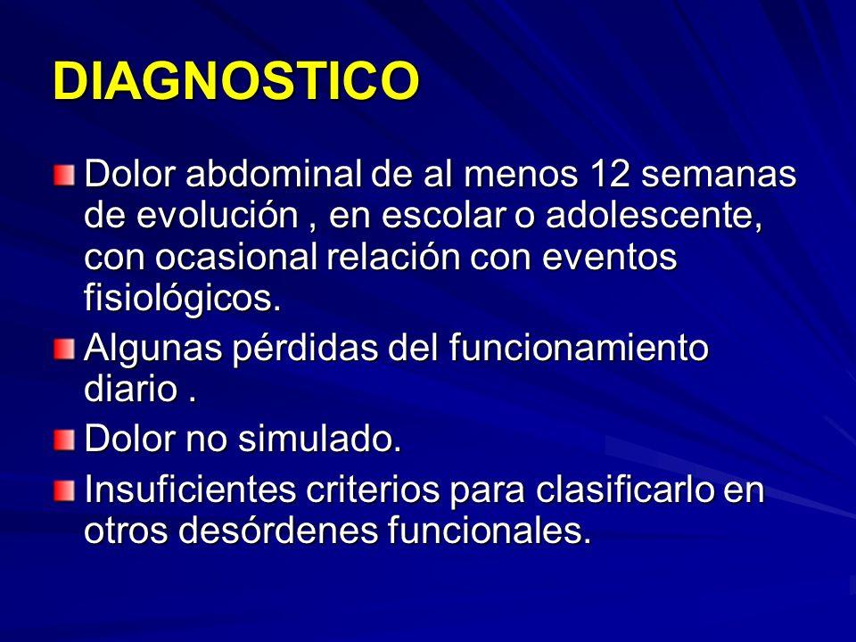DIAGNOSTICO Dolor abdominal de al menos 12 semanas de evolución, en escolar o adolescente, con ocasional relación con eventos fisiológicos. Algunas pé