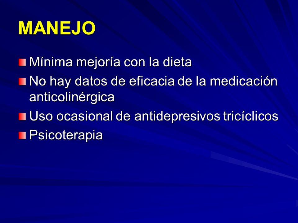 MANEJO Mínima mejoría con la dieta No hay datos de eficacia de la medicación anticolinérgica Uso ocasional de antidepresivos tricíclicos Psicoterapia