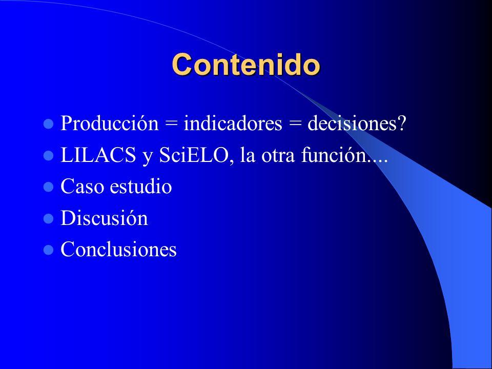 Contenido Producción = indicadores = decisiones? LILACS y SciELO, la otra función.... Caso estudio Discusión Conclusiones