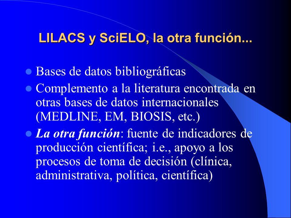 LILACS y SciELO, la otra función... Bases de datos bibliográficas Complemento a la literatura encontrada en otras bases de datos internacionales (MEDL