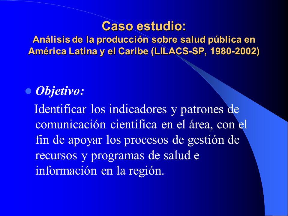 Caso estudio: Análisis de la producción sobre salud pública en América Latina y el Caribe (LILACS-SP, 1980-2002) Objetivo: Identificar los indicadores