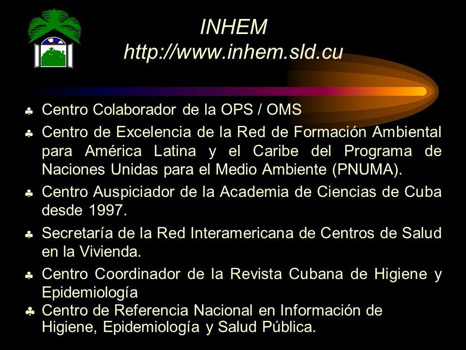 INHEM http://www.inhem.sld.cu Centro Colaborador de la OPS / OMS Centro de Excelencia de la Red de Formación Ambiental para América Latina y el Caribe del Programa de Naciones Unidas para el Medio Ambiente (PNUMA).
