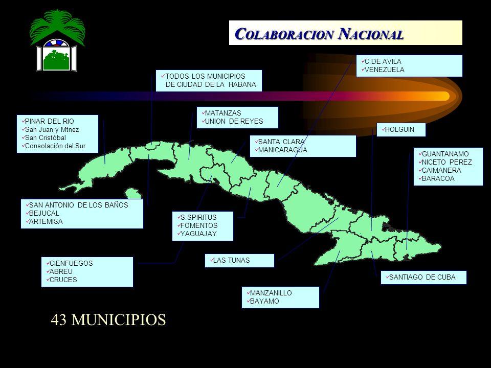 PINAR DEL RIO San Juan y Mtnez San Cristóbal Consolación del Sur TODOS LOS MUNICIPIOS DE CIUDAD DE LA HABANA SAN ANTONIO DE LOS BAÑOS BEJUCAL ARTEMISA MATANZAS UNION DE REYES SANTA CLARA MANICARAGUA CIENFUEGOS ABREU CRUCES S.SPIRITUS FOMENTOS YAGUAJAY C.DE AVILA VENEZUELA LAS TUNAS MANZANILLO BAYAMO HOLGUIN SANTIAGO DE CUBA GUANTANAMO NICETO PEREZ CAIMANERA BARACOA C OLABORACION N ACIONAL 43 MUNICIPIOS