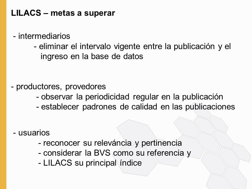 LILACS Express LILACS BVS-LILACS Editores, directores de revistas, productores, distribuidores: envío de los datos al mismo tiempo de la publicación Bibliotecas: indización de los LILACS Express en línea Red SciELO RECEPCIÓN xml LIS, ScienTI Salud, bases numéricas, otras fuentes, etc NLM PubMed
