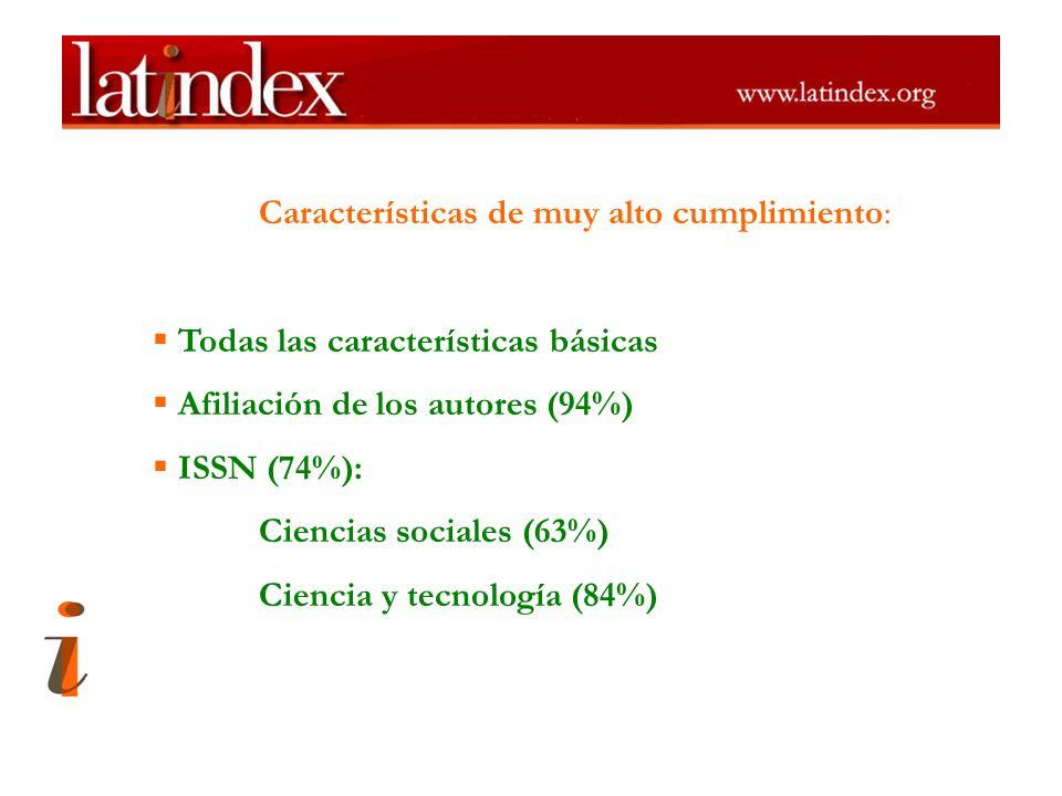 Características de muy alto cumplimiento: Todas las características básicas Afiliación de los autores (94%) ISSN (74%): Ciencias sociales (63%) Cienci