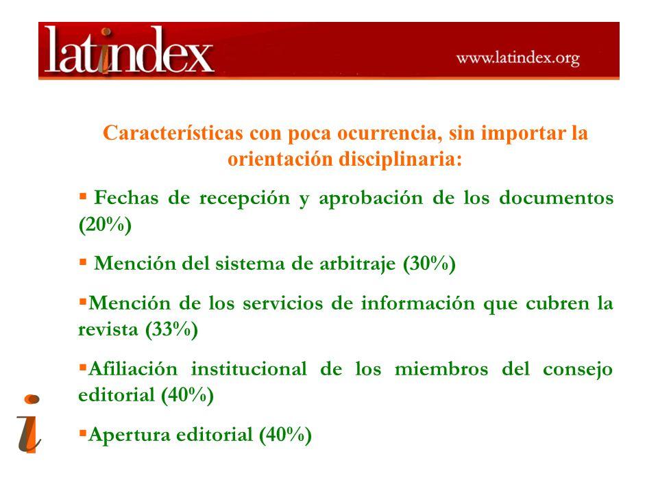 Características con poca ocurrencia, sin importar la orientación disciplinaria: Fechas de recepción y aprobación de los documentos (20%) Mención del s