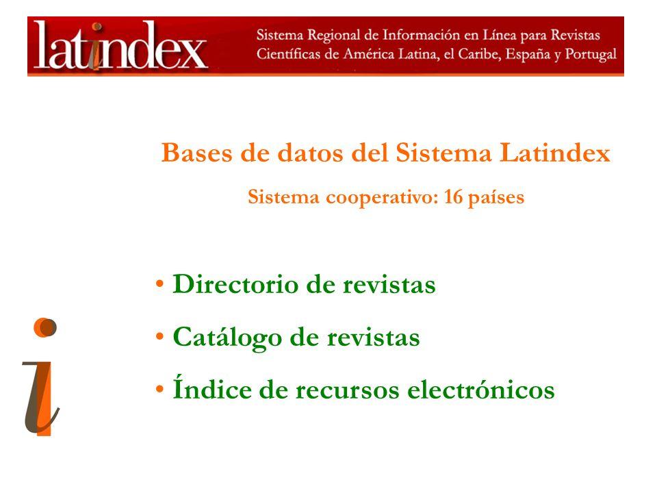 Bases de datos del Sistema Latindex Sistema cooperativo: 16 países Directorio de revistas Catálogo de revistas Índice de recursos electrónicos