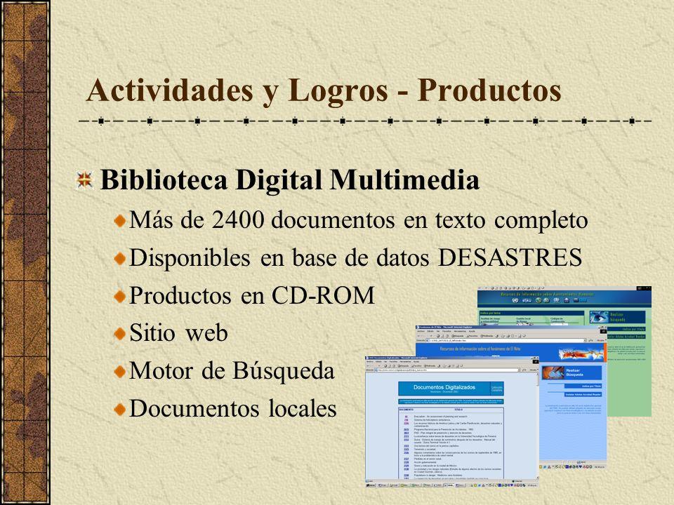 Actividades y Logros - Productos Biblioteca Digital Multimedia Más de 2400 documentos en texto completo Disponibles en base de datos DESASTRES Productos en CD-ROM Sitio web Motor de Búsqueda Documentos locales