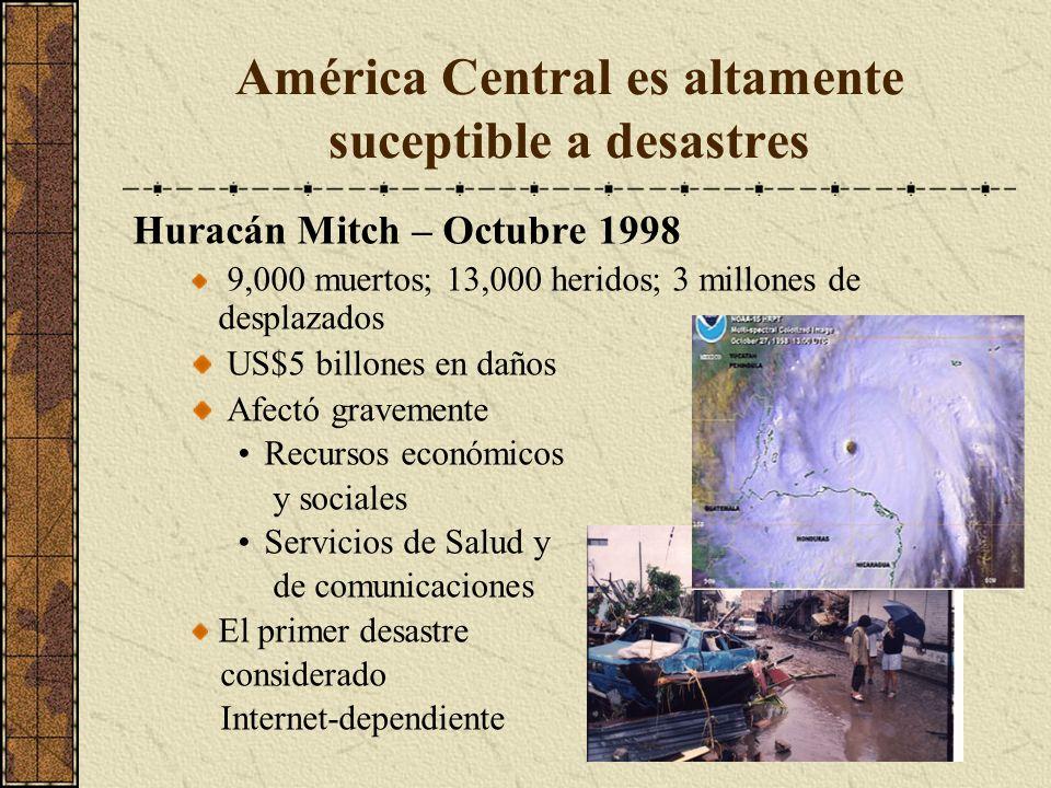 Zona de alto riesgo de desastres… Terremotos en El Salvador January/February 2001 Sobre 1,000 muertos y 4,000 heridos Muchos recursos de salud destruídos o dañados Más de US$3 billones en daños