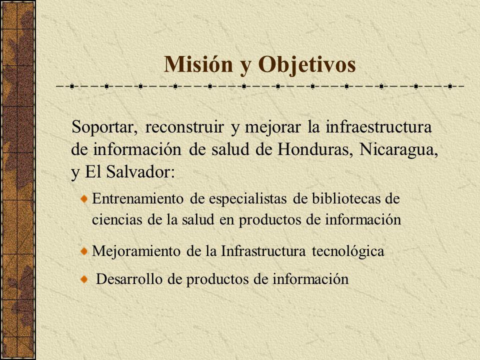 Misión y Objetivos Soportar, reconstruir y mejorar la infraestructura de información de salud de Honduras, Nicaragua, y El Salvador: Entrenamiento de especialistas de bibliotecas de ciencias de la salud en productos de información Mejoramiento de la Infrastructura tecnológica Desarrollo de productos de información
