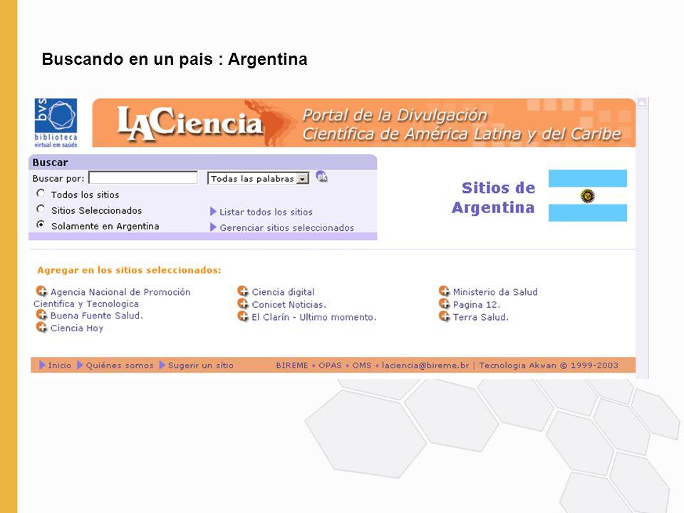Buscando en un pais : Argentina
