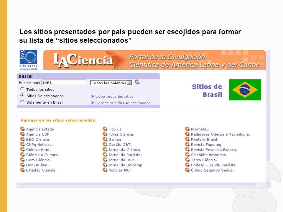 Los sitios presentados por pais pueden ser escojidos para formar su lista de sitios seleccionados