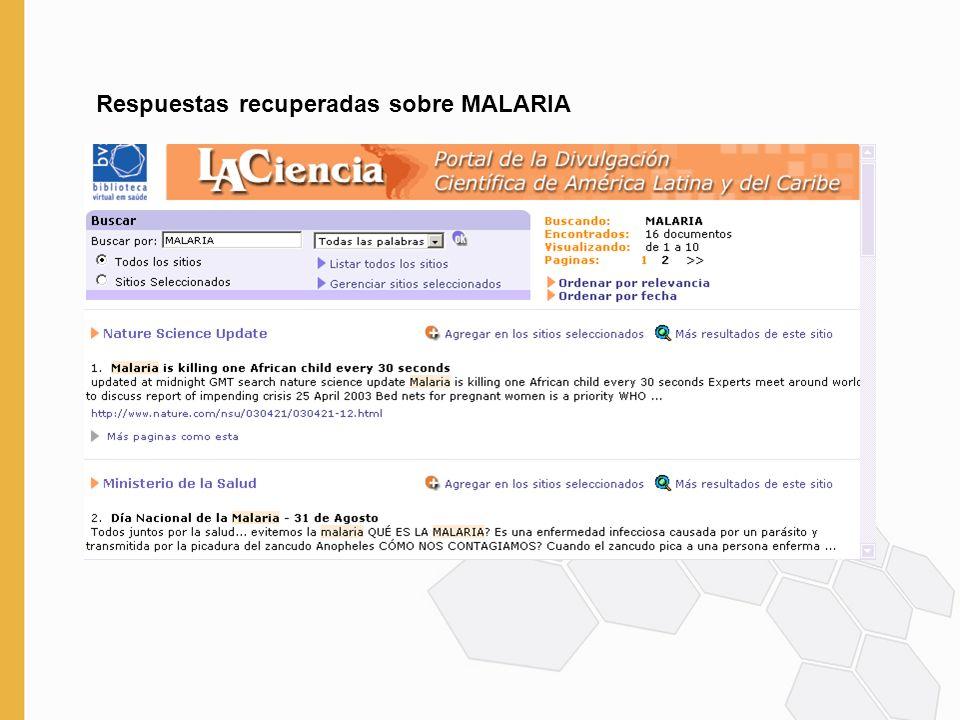 Respuestas recuperadas sobre MALARIA