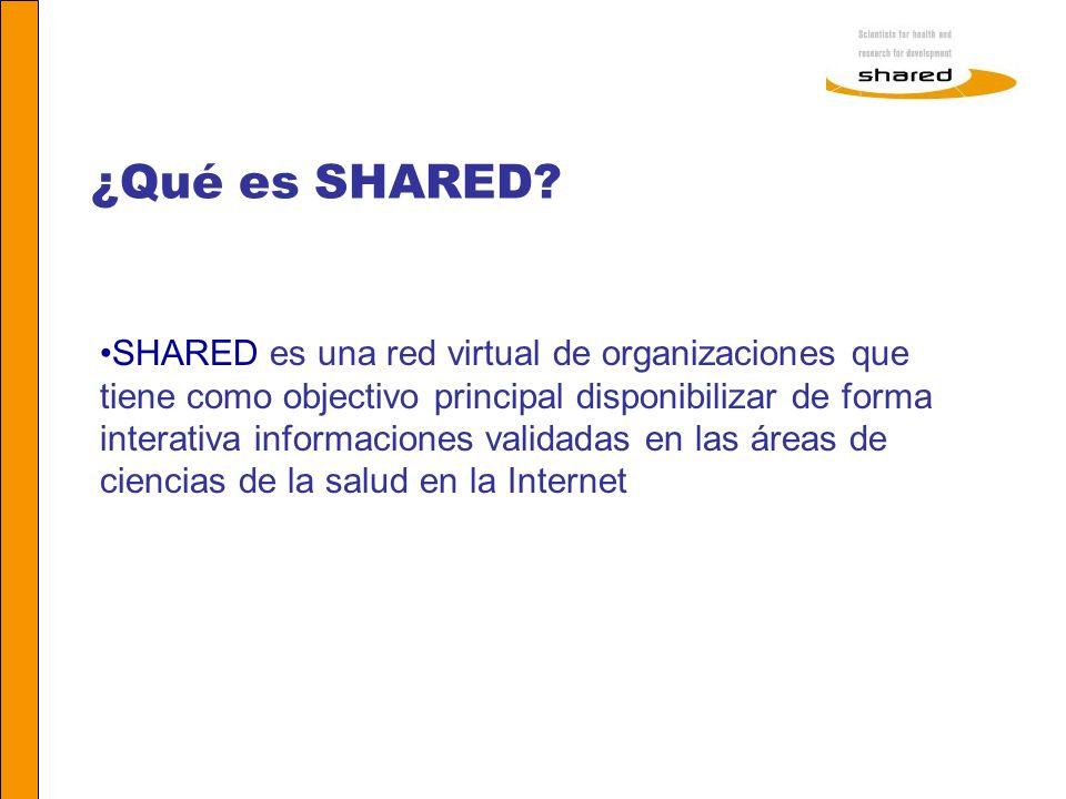 Agnes Soares ¿Qué es SHARED? SHARED es una red virtual de organizaciones que tiene como objectivo principal disponibilizar de forma interativa informa