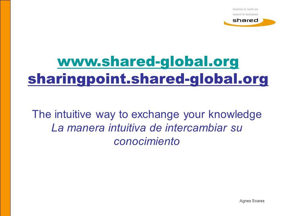 The intuitive way to exchange your knowledge La manera intuitiva de intercambiar su conocimiento www.shared-global.org www.shared-global.org sharingpo