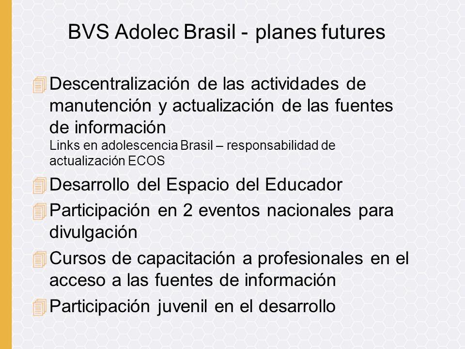 4Descentralización de las actividades de manutención y actualización de las fuentes de información Links en adolescencia Brasil – responsabilidad de a