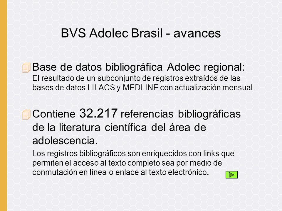 4Base de datos bibliográfica Adolec regional: El resultado de un subconjunto de registros extraídos de las bases de datos LILACS y MEDLINE con actualización mensual.