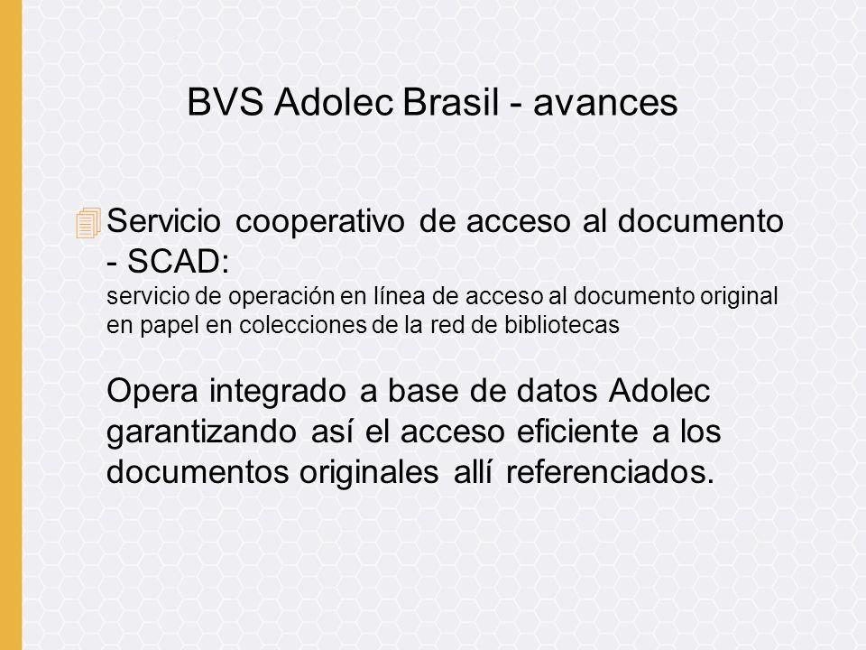 4Servicio cooperativo de acceso al documento - SCAD: servicio de operación en línea de acceso al documento original en papel en colecciones de la red de bibliotecas Opera integrado a base de datos Adolec garantizando así el acceso eficiente a los documentos originales allí referenciados.