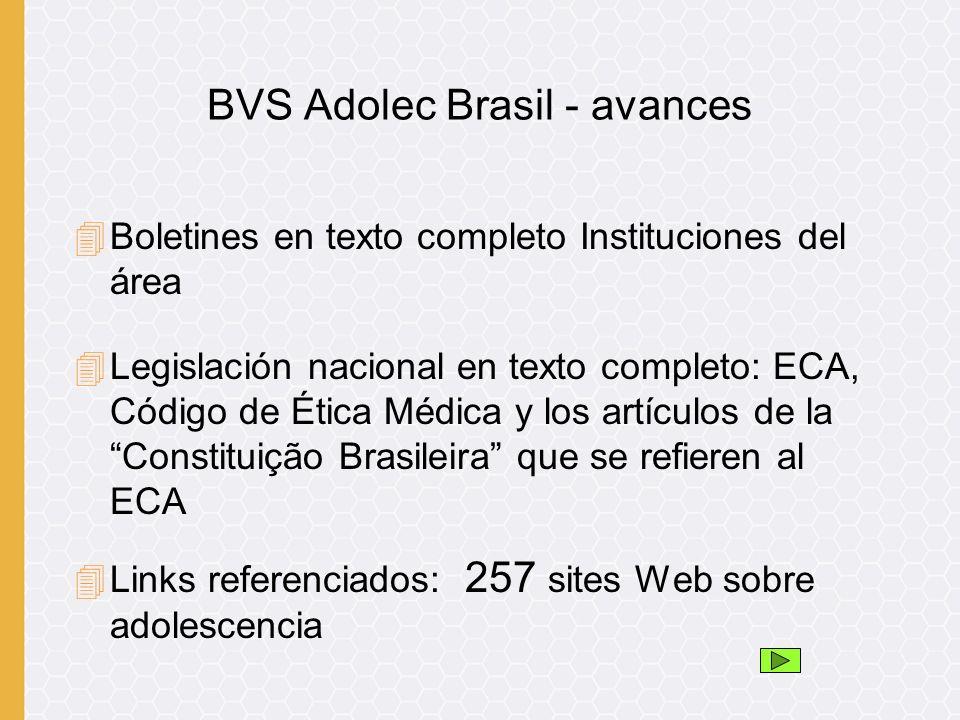 4Boletines en texto completo Instituciones del área 4Legislación nacional en texto completo: ECA, Código de Ética Médica y los artículos de la Constituição Brasileira que se refieren al ECA 4Links referenciados: 257 sites Web sobre adolescencia BVS Adolec Brasil - avances