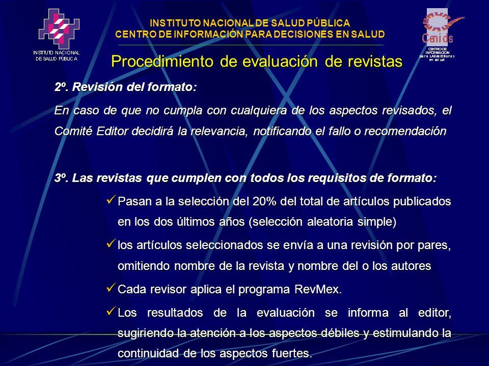 INSTITUTO NACIONAL DE SALUD PÚBLICA CENTRO DE INFORMACIÓN PARA DECISIONES EN SALUD Procedimiento de evaluación de revistas 2º.