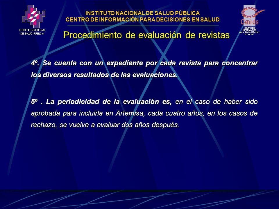 INSTITUTO NACIONAL DE SALUD PÚBLICA CENTRO DE INFORMACIÓN PARA DECISIONES EN SALUD 4º.