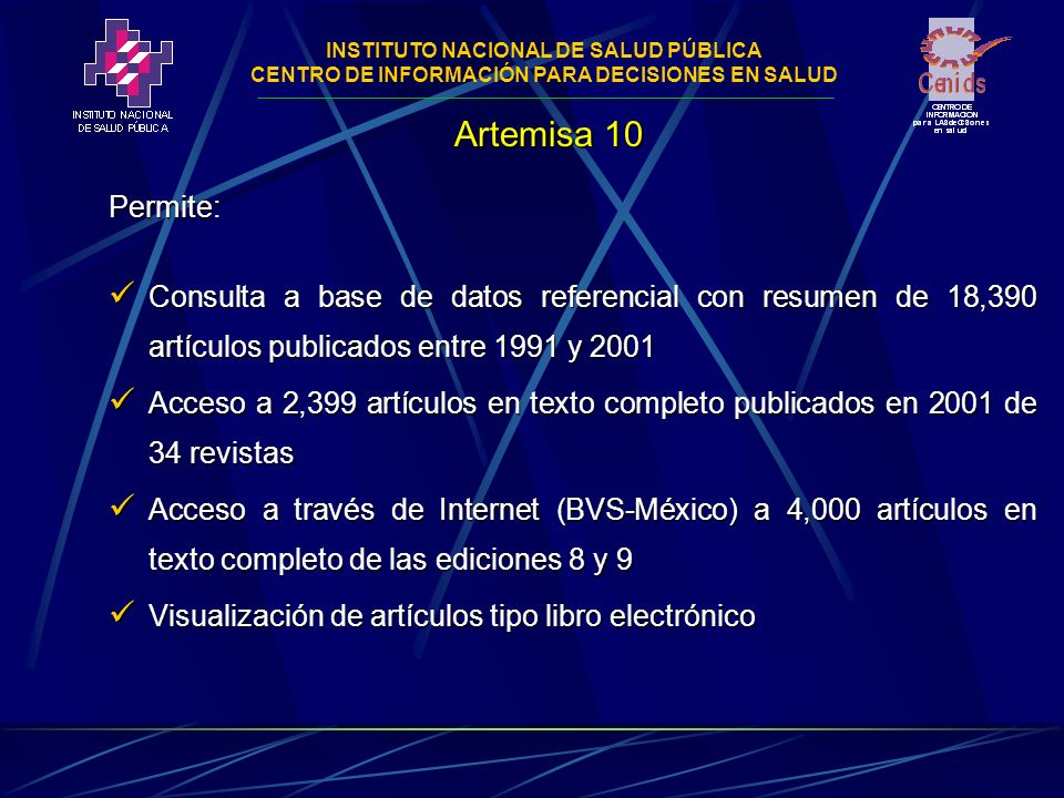 INSTITUTO NACIONAL DE SALUD PÚBLICA CENTRO DE INFORMACIÓN PARA DECISIONES EN SALUD Dra.