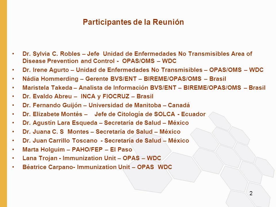 2 Participantes de la Reunión Dr. Sylvia C. Robles – Jefe Unidad de Enfermedades No Transmisibles Area of Disease Prevention and Control - OPAS/OMS –