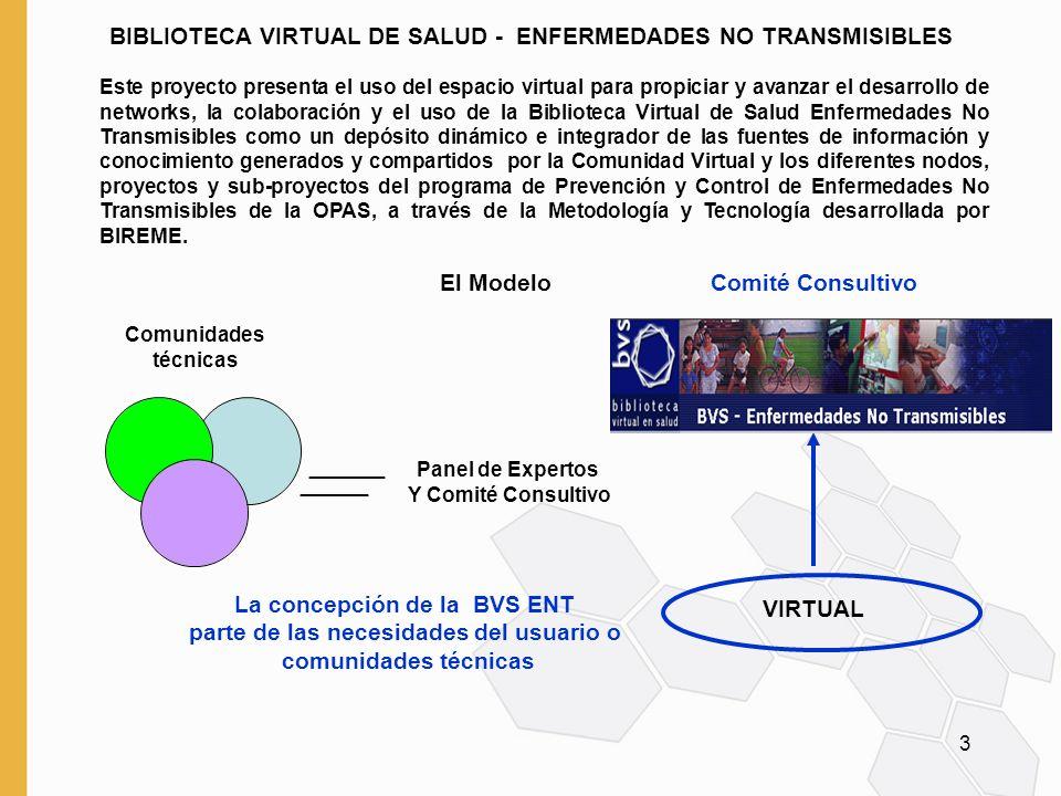 3 BIBLIOTECA VIRTUAL DE SALUD - ENFERMEDADES NO TRANSMISIBLES Comunidades técnicas Este proyecto presenta el uso del espacio virtual para propiciar y