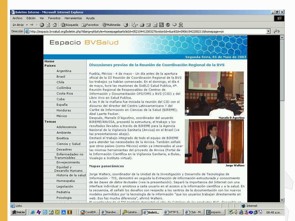http://espacio.bvsalud.org La participación y integración es el primer paso para una comunicación eficiente