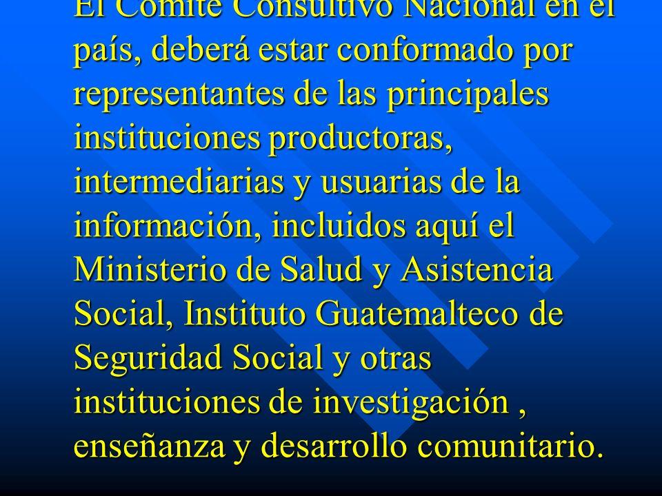 El Comité Consultivo Nacional en el país, deberá estar conformado por representantes de las principales instituciones productoras, intermediarias y us