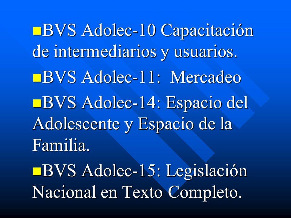 BVS Adolec-10 Capacitación de intermediarios y usuarios. BVS Adolec-10 Capacitación de intermediarios y usuarios. BVS Adolec-11: Mercadeo BVS Adolec-1