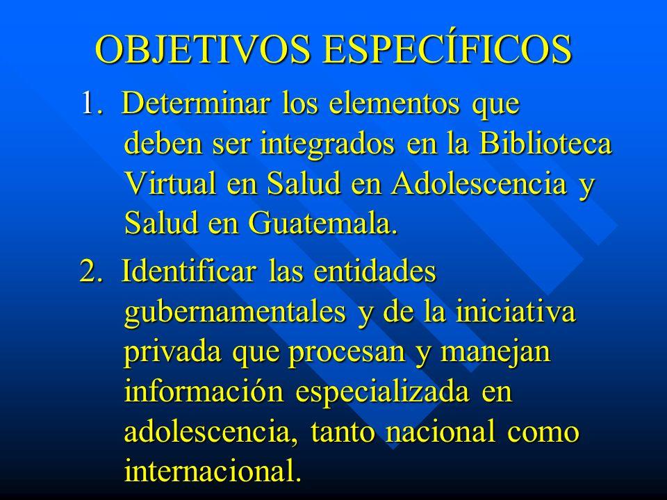 OBJETIVOS ESPECÍFICOS 1. Determinar los elementos que deben ser integrados en la Biblioteca Virtual en Salud en Adolescencia y Salud en Guatemala. 2.