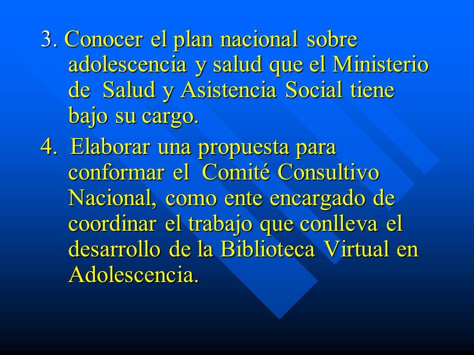 3. Conocer el plan nacional sobre adolescencia y salud que el Ministerio de Salud y Asistencia Social tiene bajo su cargo. 4. Elaborar una propuesta p