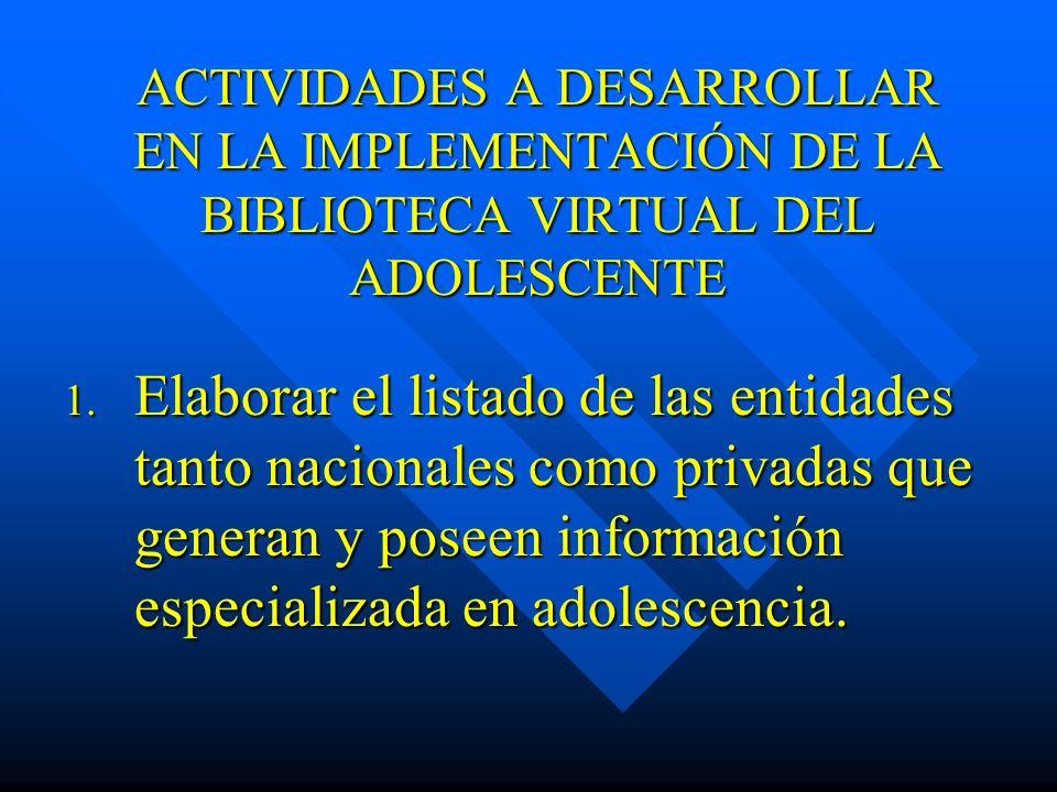 ACTIVIDADES A DESARROLLAR EN LA IMPLEMENTACIÓN DE LA BIBLIOTECA VIRTUAL DEL ADOLESCENTE 1. Elaborar el listado de las entidades tanto nacionales como