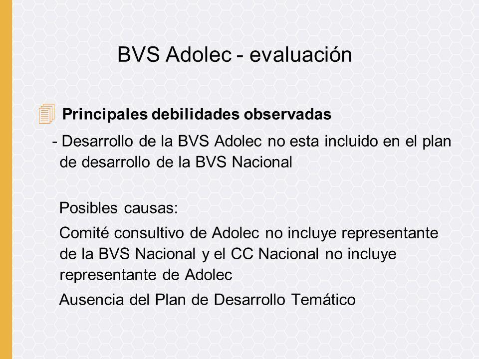 4 Principales debilidades observadas - Desarrollo de la BVS Adolec no esta incluido en el plan de desarrollo de la BVS Nacional Posibles causas: Comit